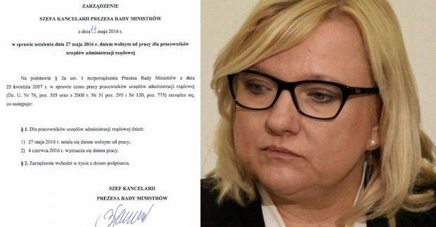 Pismo o dniu pracy dla urzędników i Beata Kempa