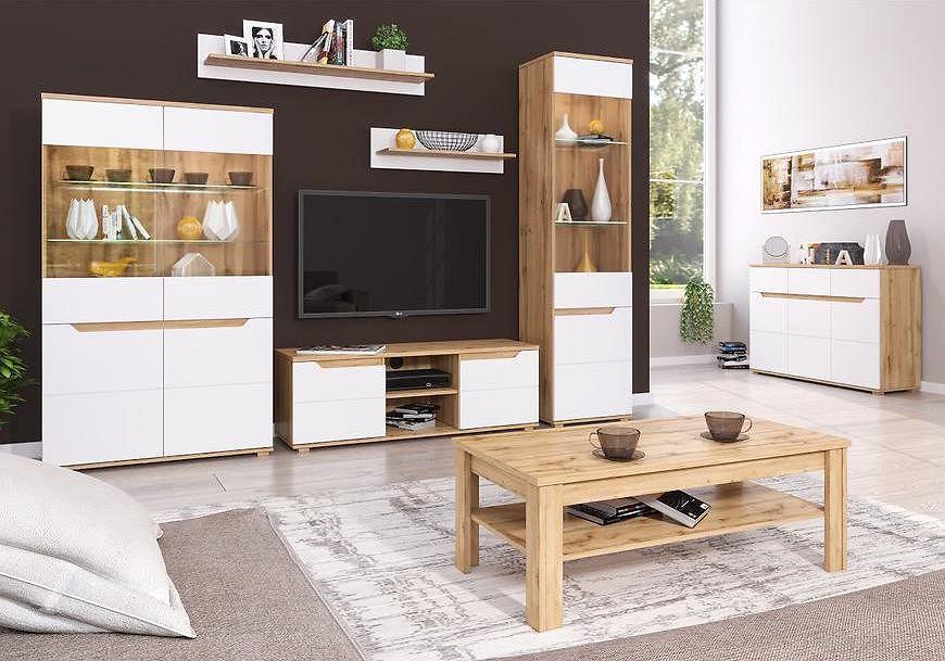 Biała szafka RTV z drewnianymi elementami.
