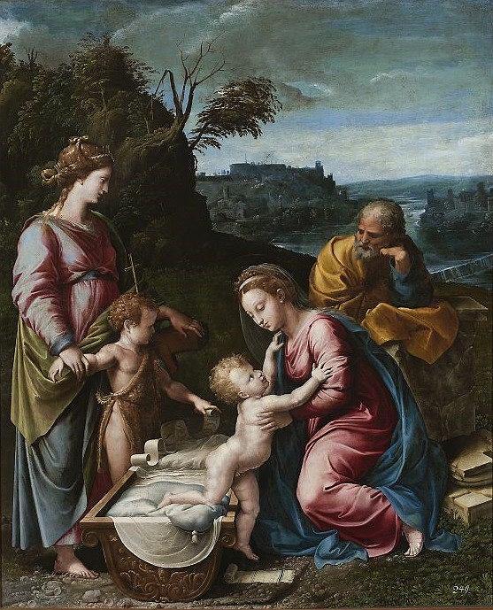 Giovanni Francesco Penni (ok. 1496-1528), Święta Rodzina ze św.Janem Chrzcicielem i św.Katarzyną Aleksandryjską, olej, deska / Muzeum Narodowe w Warszawie