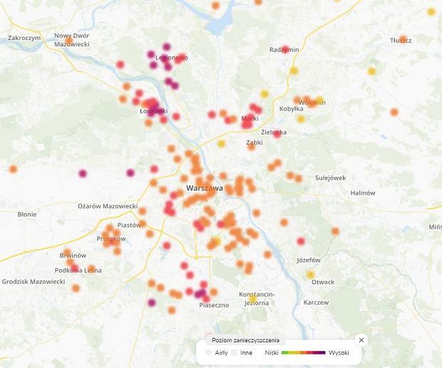 Stan jakości powietrza w Warszawie - poniedziałek 7 stycznia