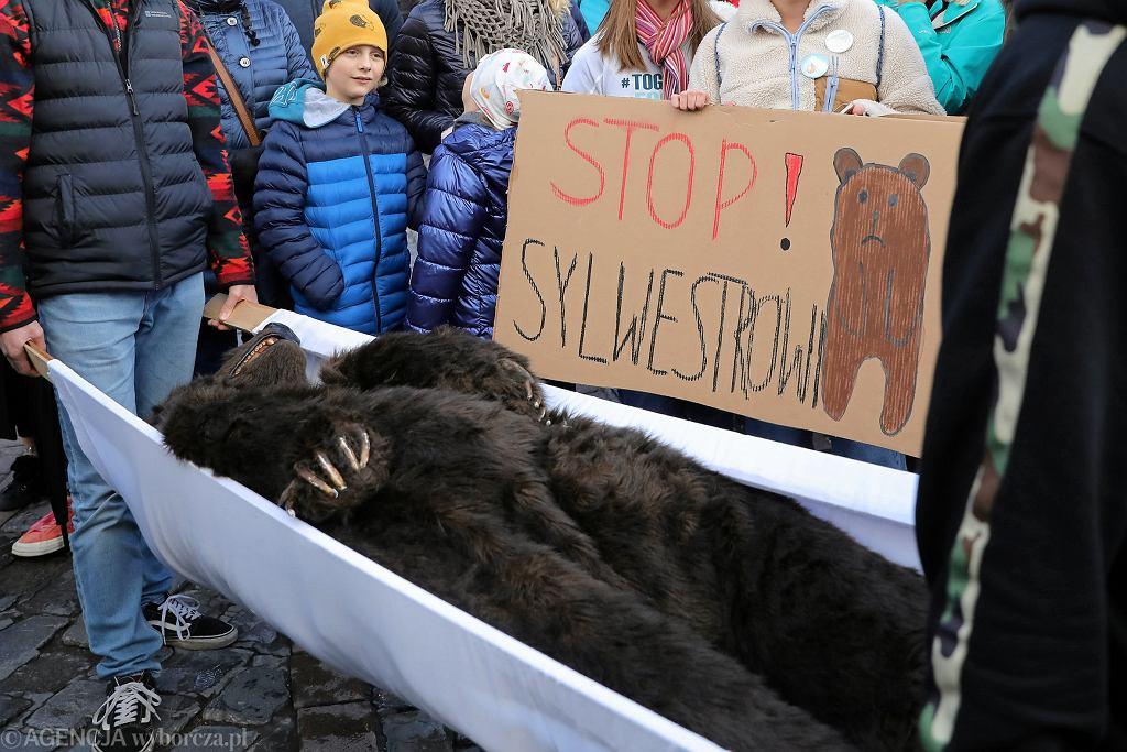 Protest 'NIE dla sylwestra pod Wielką Krokwią!' w Zakopanem