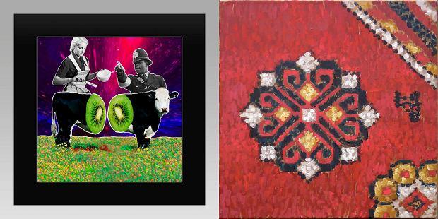 Z lewej: NEYGallery, IgorVeter, Mia?z?sz, 30x30 cm. Z prawej: Galeria Milano, Wolniak Olga, 50x50 cm 2018 złoto