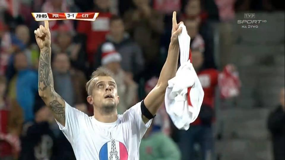 Kamil Grosicki po golu w meczu z Czechami.