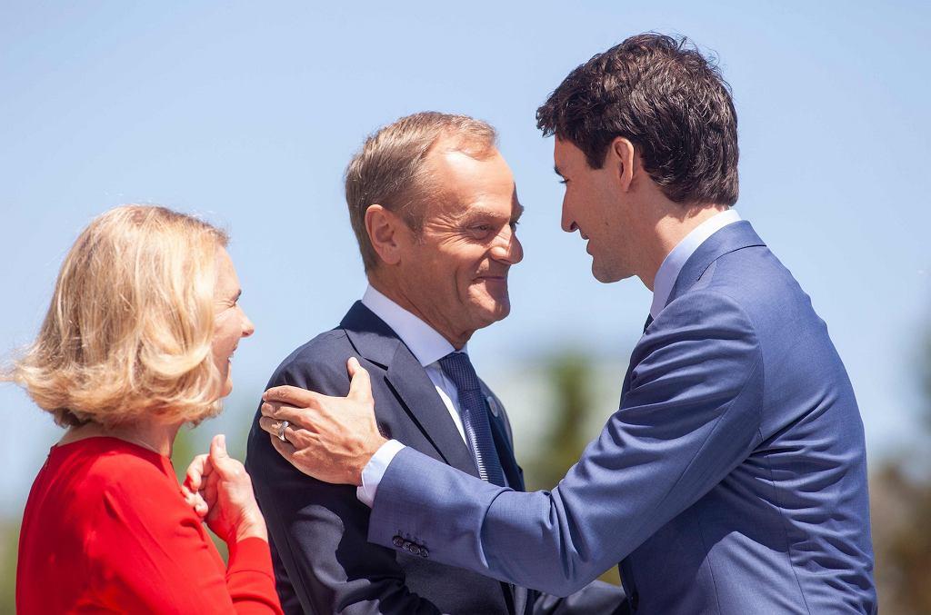 Donald Tusk z żoną Małgorzatą, Justin Trudeau