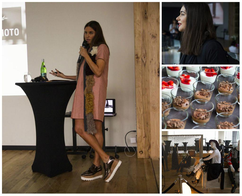 Konferencja w VIKTAC: Joanna Horodyńska w stylizacji dostępnej w DH VITKAC, Misia Furtak, ekspozycja nowych kolekcji (autorzy: Kamil Szostak i Paweł Talaga)