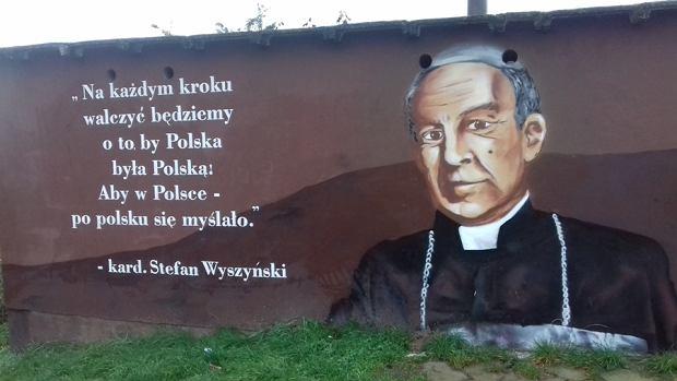 Mural z Wyszyńskim obecnie