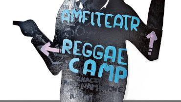 JEŚLI REGGAE, to i obowiązkowo Bob Marley. Tu wskazuje drogę do pola namiotowego na jednym z festiwali, na których grał nasz gospodarz.