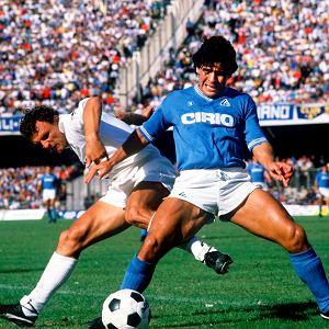 Diego Maradona podczas meczu Napoli - Sampdoria.