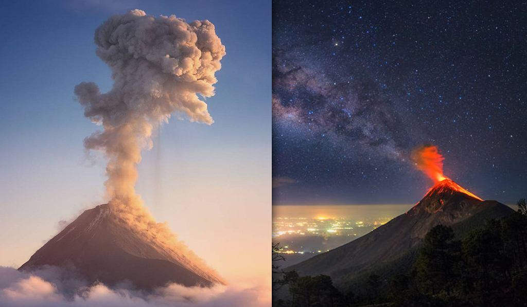 Erupcja wulkanu Fuego w Gwatemali.