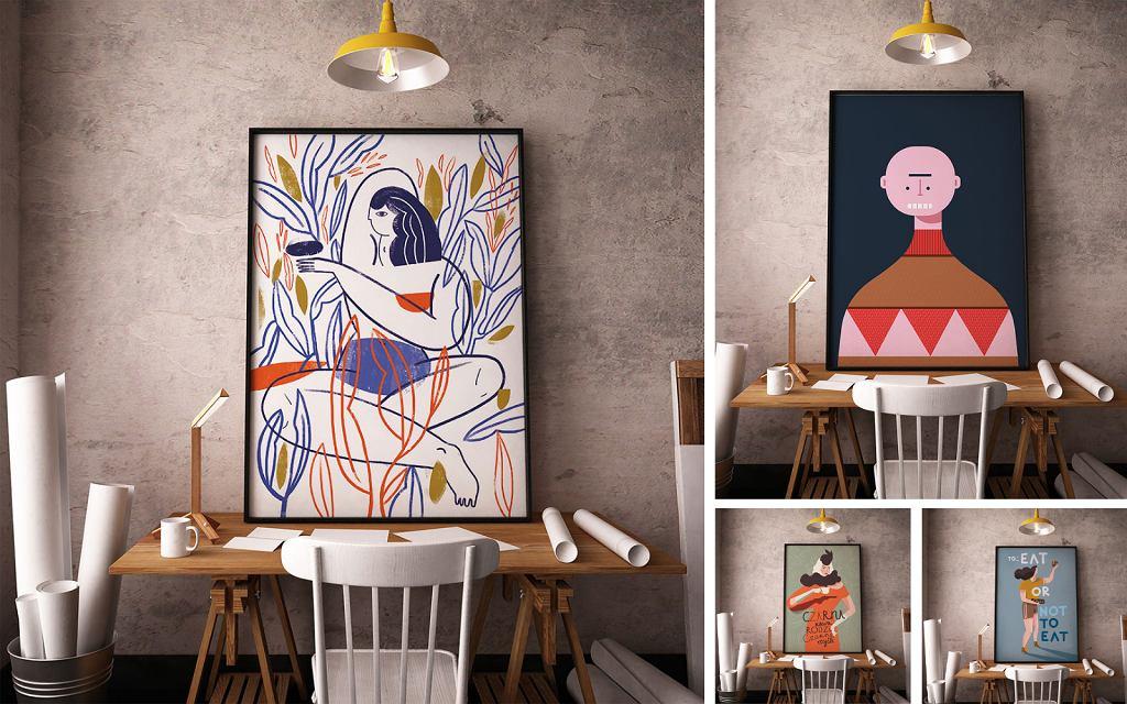 Plakaty 'Pomiędzy liniami', 'Czarna kawa rodzi czarne myśli', 'Cookie', 'OMG', które są częścią wystawy TRŁ.