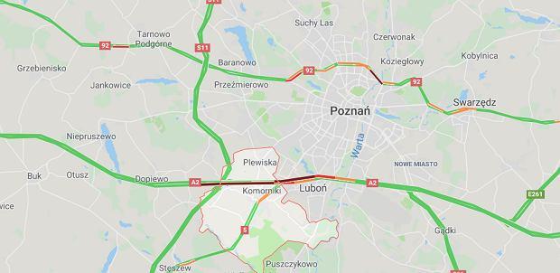 Wypadek na A2 niedaleko węzła Komorniki
