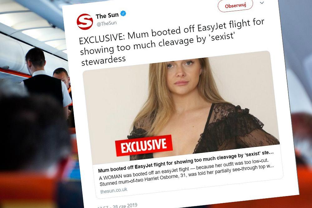 Kobieta twierdzi, że została wyrzucona z samolotu za prześwitujący top