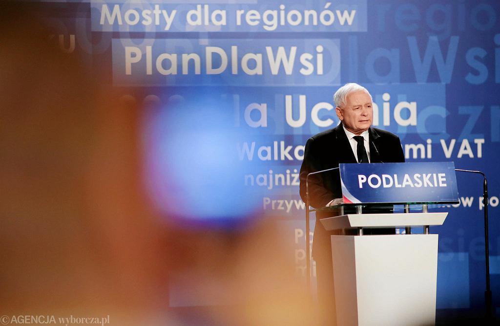 Białystok. Podlaska konwencja PiS. Jarosław Kaczyński i Mateusz Morawiecki poparli Jacka Żalka jako kandydata na prezydenta Białegostoku