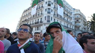 Algierski rynek Zocalo, miejscowi kibice oglądają porażkę swojej reprezentacji z Belgią 1:2