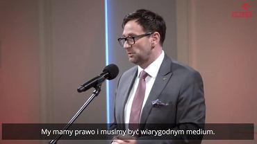 Prezes PKN Orlen Daniel Obajtek podczas spotkania z pracownikami Polska Press