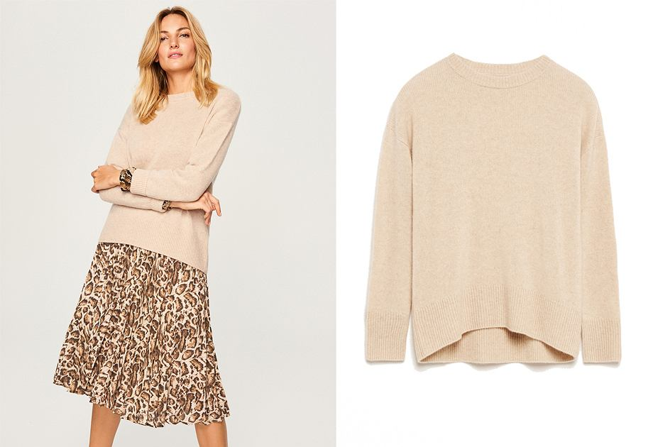 Kaszmir to szlachetna wełna, która sprawia, że sweter jest niezwykle miękki i przyjemny