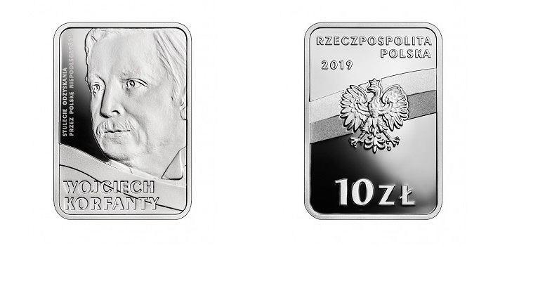 Srebrna moneta z wizerunkiem Wojciecha Korfantego wyemitowana przez NBP.