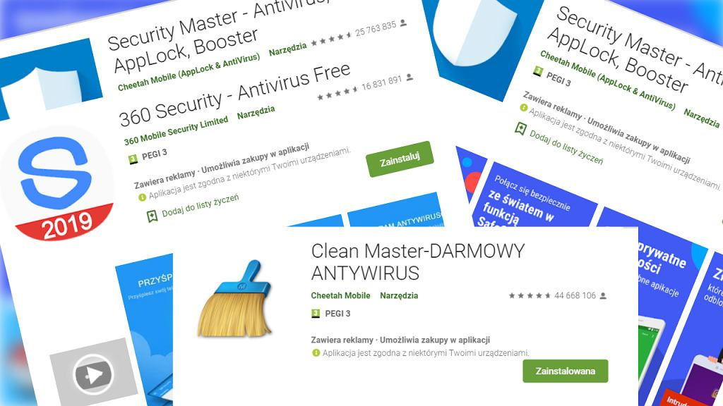 Niebezpieczne aplikacje antywirusowe w Google Play