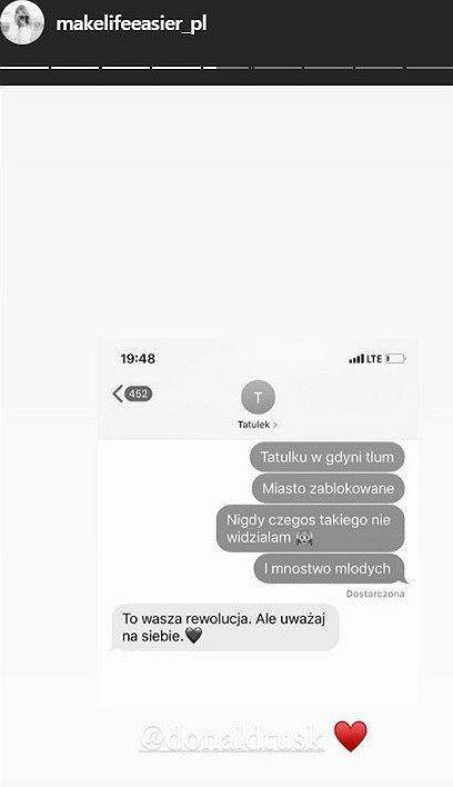 Screen SMS-a od Donalda Tuska