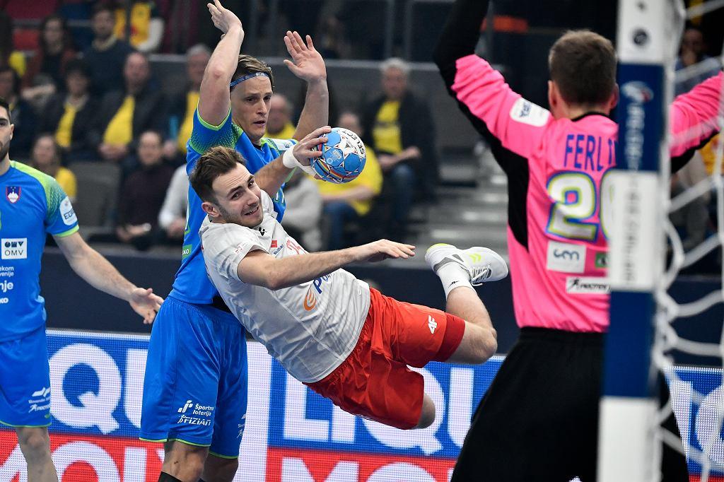 Arkadiusz Moryto podczas meczu Polska - Słowenia na mistrzostwach Europy w piłce ręcznej, 10 stycznia 2020.