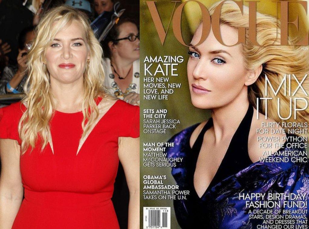 Kate Winslet na czerwonym dywanie i idealnie wygładzona na okładce 'Vogue'