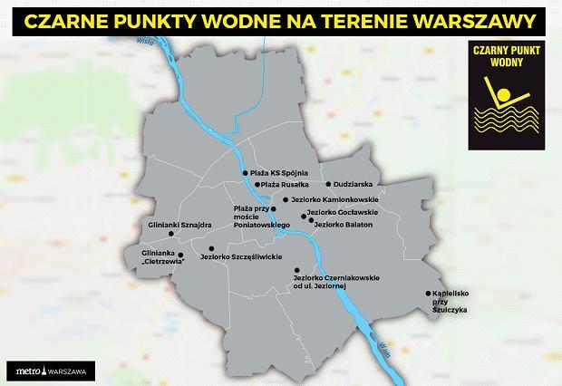 Czarne punkty wodne Warszawa