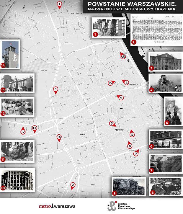 Powstanie Warszawskie. Najważniejsze miejsca i wydarzenia na mapie