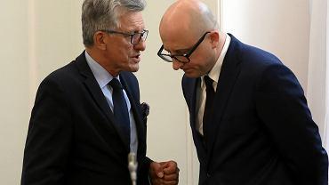 5.06.2018, Sejm, poseł PiS Stanisław Piotrowicz i wiceprzewodniczący KRS Dariusz Drajewicz.