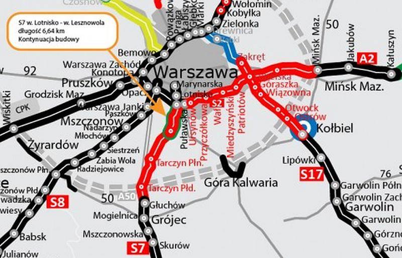 Trasa S7 na południe od Warszawy