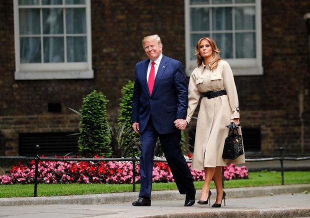 President Donald Trump and first lady Melania arrive in Downing Street in central London, Tuesday, June 4, 2019. President Donald Trump will turn from pageantry to policy Tuesday as he joins British Prime Minister Theresa May for a day of talks likely to highlight fresh uncertainty in the allies