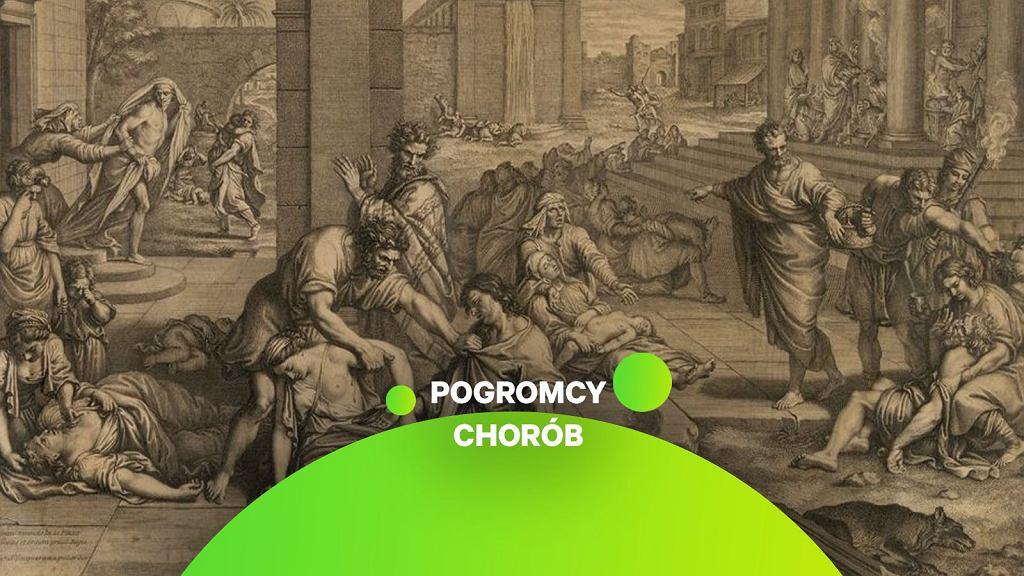 W średniowieczu wierzono, że zaraza to kara boska. Morowe powietrze próbowano neutralizować jednak nie tylko modlitwą czy ofiarą, ale też z pomocą specjalnych pieców do oczyszczania powietrza (na pierwszym planie),