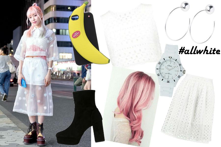 biała bluzka, spódnica, case banan