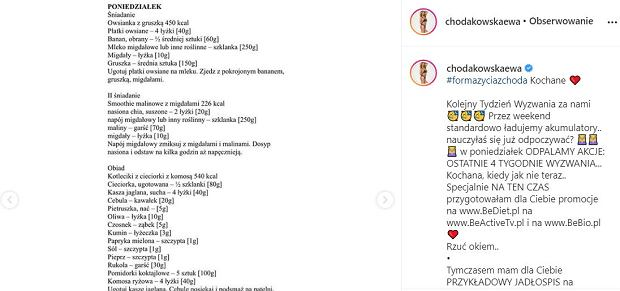 Przykładowe jadłospisy Ewy Chodakowskiej