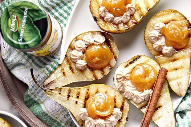 Gruszki nadziewane dżemem Łowicz 100 % z owoców Pigwowiec z acerolą  i serkiem mascarpone