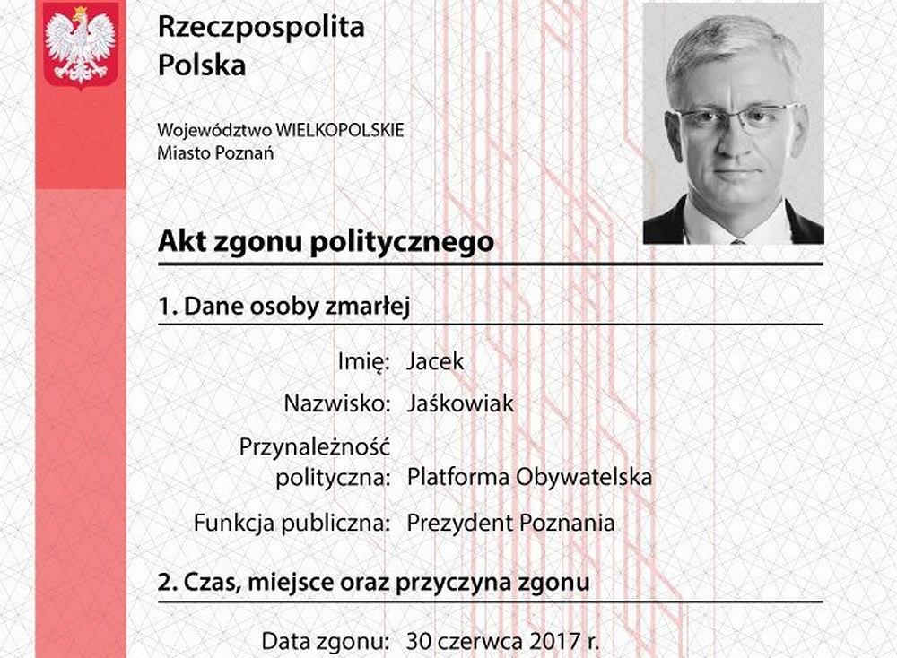 Młodzież Wszechpolska wystawiła prezydentowi Poznania Jackowi Jaśkowiakowi 'akt zgonu politycznego'