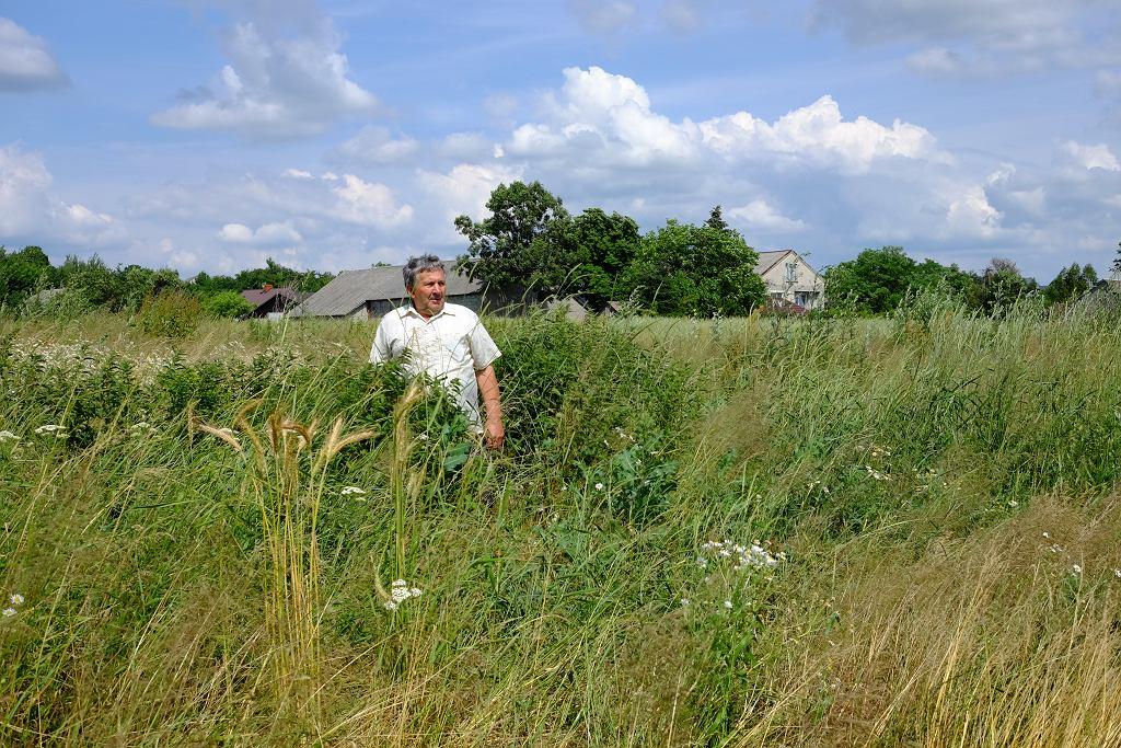Pan Jan, mieszkaniec Tuczęp, na łąkach wokół wsi