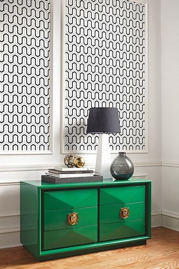 Ciekawy pomysł na zastosowanie tapety na ścianie w salonie