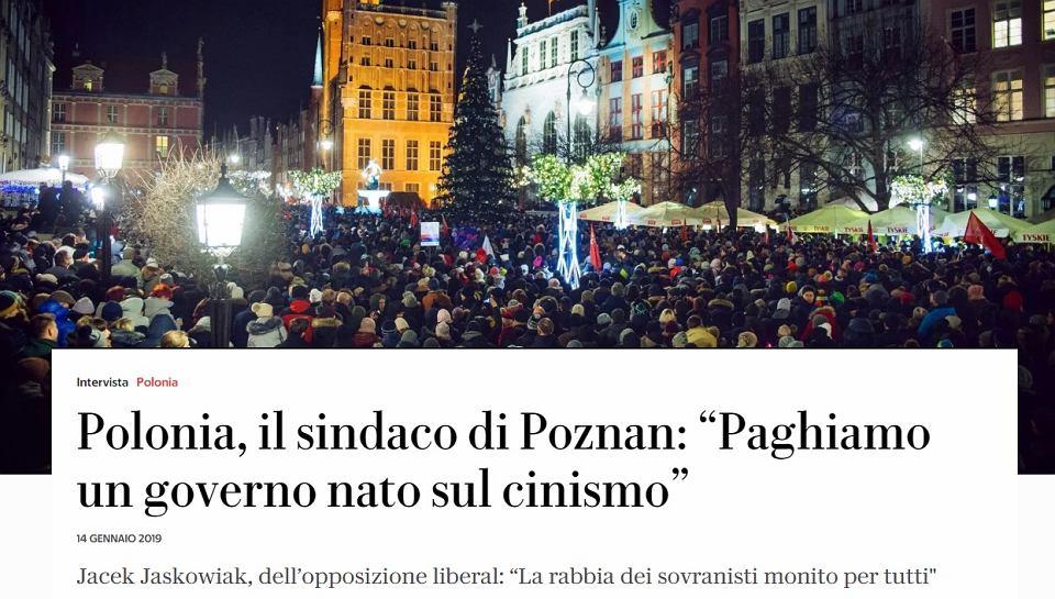 Prezydent Jacek Jaśkowiak udzielił wywiadu gazecie 'La Repubblica'
