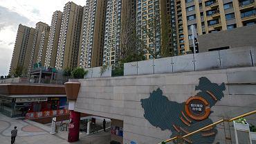 Pekin, Chiny. Mapa pokazująca inwestycje Evegrande i wybudowane przez nią budynki.