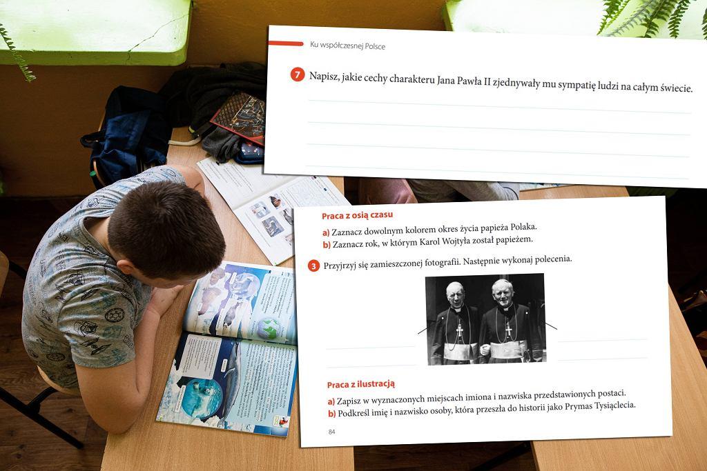 Zadania odnośnie Jana Pawła II w zeszycie ćwiczeń do historii