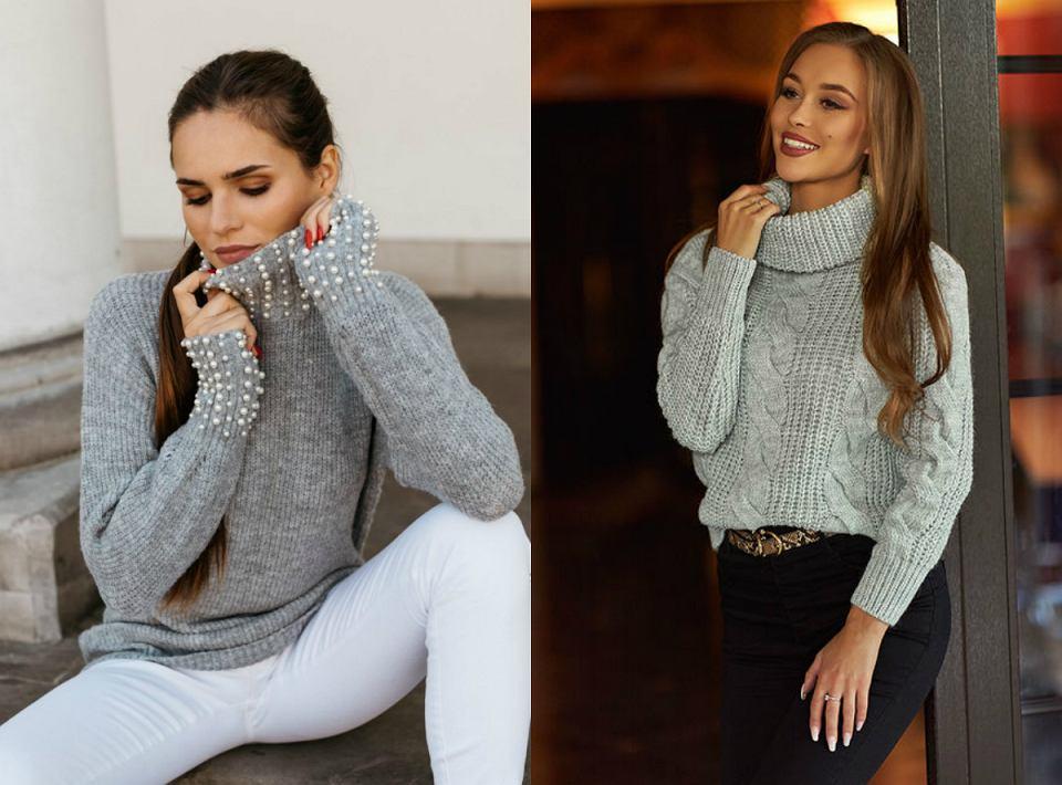 szare swetry damskie