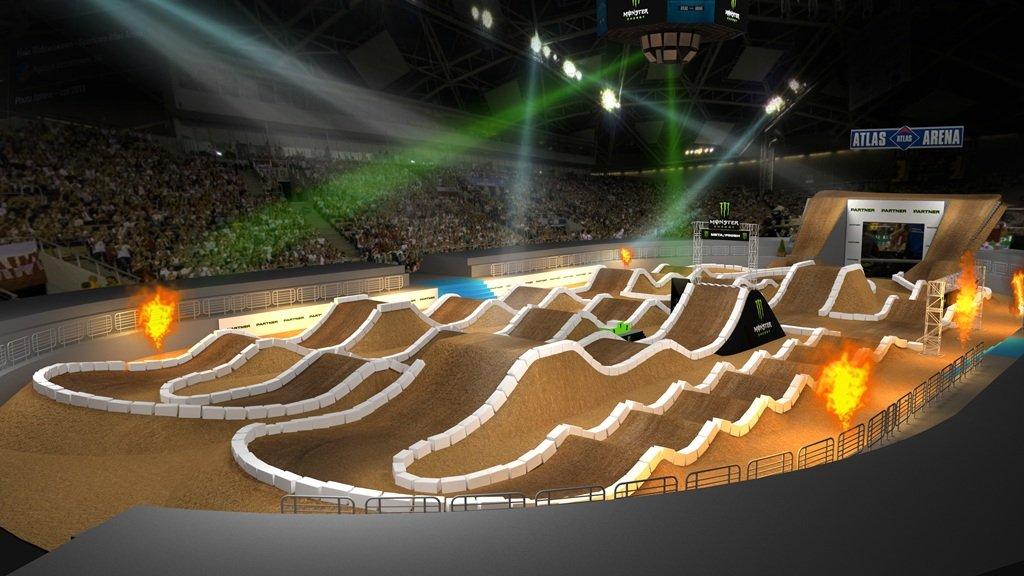 Wizualizacja toru supercrossowego podczas Supercross King of Poland, który odbędzie się w październiku w Atlas Arenie