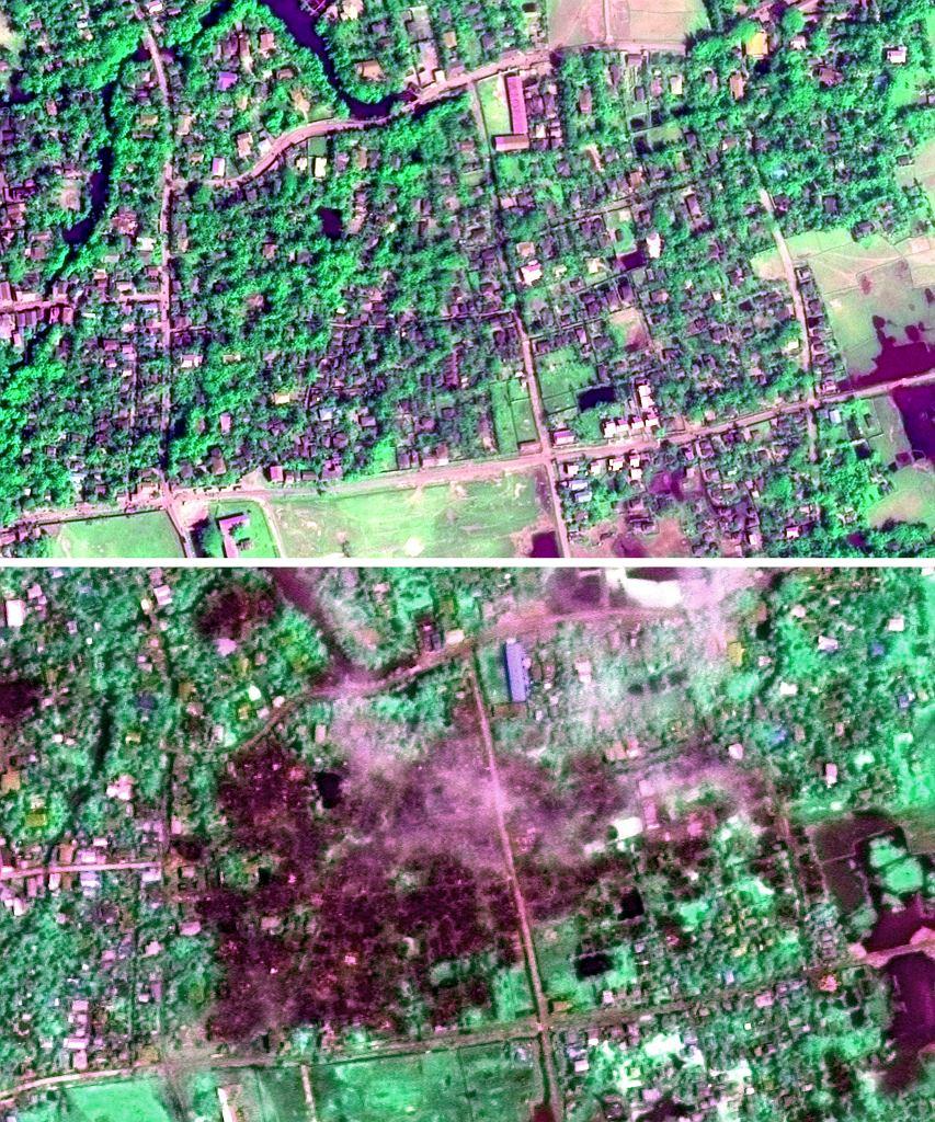 Zdjęcie satelitarne. Na górze obraz z 30 stycznia 2014 roku, na dole z 2 września 2017 r. Jak podaje Human Rights Watch dolne zdjęcie obrazuje skalę zniszczeń