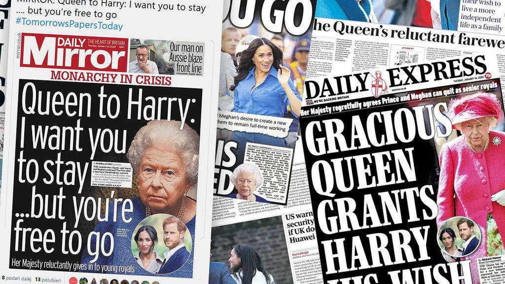 Brytyjska prasa komentuje decyzję królowej Elżbiety w sprawie deklaracji księcia Harry'ego