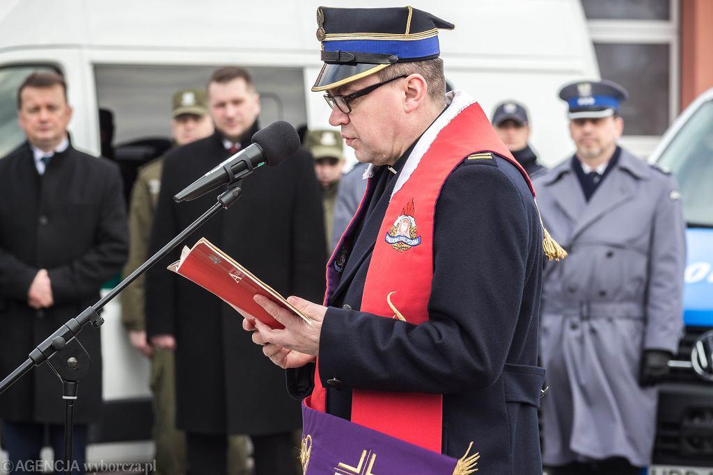 Wizyta ministra Mariusza Błaszczaka w jednostce Ratowniczo-Gaśniczej nr 4 w Lublinie
