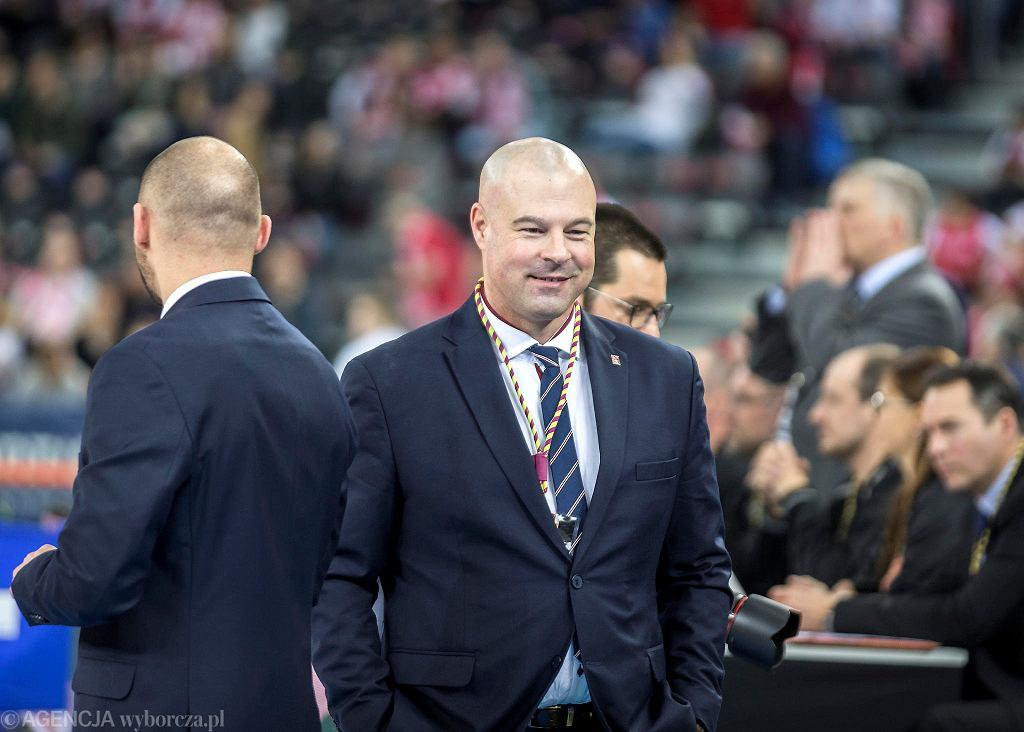 Trener Mike Taylor podczas lutowego meczu koszykówki Polska - Izrael w ramach eliminacji Mistrzostw Europy