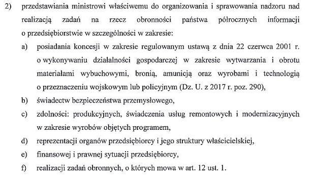 Fragment projektu Ustawy o organizowaniu zadań na rzecz obronności państwa realizowanych przez przedsiębiorców i programie mobilizacji gospodarki
