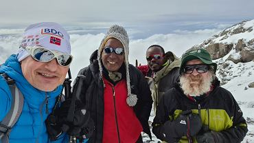 Wawrzyniak, Baba, Doba, Geoffrey na wysokości 5685 m na Kilimandżaro