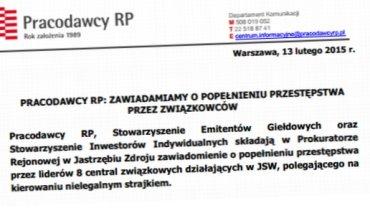 """Komunikat prasowy """"Pracodawców RP"""""""