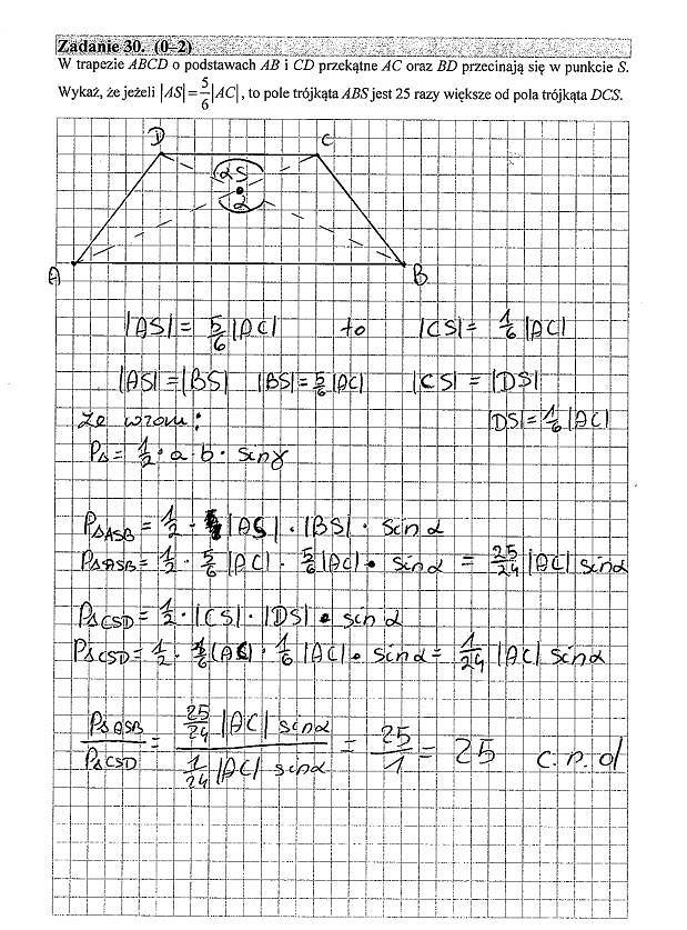 Matura poprawkowa 2016 matematyka, Zad. 30